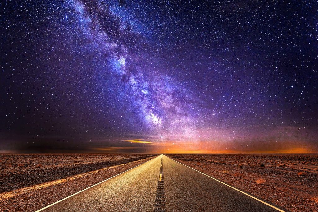 road, highway, milky way